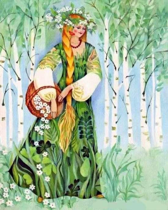 Картина по номерам 40x50 Русская девушка в березовой роще